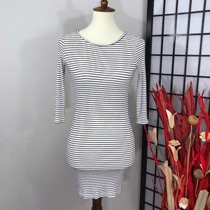 FOREVER 21 Striped Knit Ribbed Mini Dress
